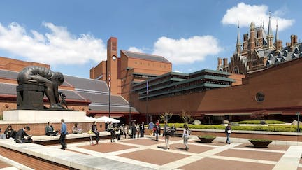 The British Library piazza at the St Pancras site in London, England.